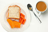 Top Above View of Sandwich, Chips, Carrots, Coffee — Stock Photo