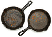 Set of Two Rusty Cast Iron Skillets — Stock Photo