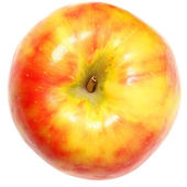 Yellow and Red Apple Over White — Stock Photo