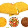 Two Tacos Stacked on White Background with cheese and lettuce — Stock Photo #42922373