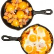 Before After Baked Eggs and Sausage with Cheese — Stock Photo #43764255