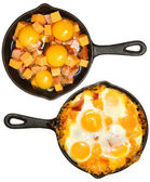 Before After Baked Eggs and Sausage with Cheese — Stock Photo