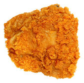 Top View Crispy Fried Chicken Thigh Isolated Over White — 图库照片