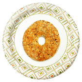 Disposable Paper Plate with Everything Flat Bagel Over White — Stock Photo