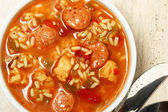 Bowl of Cajun Spicy Chicken and Sausage Gumbo Soup — Stock Photo