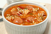 Bowl of Cajun Spicy Chicken and Sausage Gumbo — Stock Photo