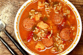 Spicy Cajun Chicken and Sausage Rice Gumbo on Table — Stock Photo