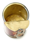 Half Empty Open Can of Potato Dumpling Soup — Stock Photo