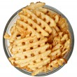 Bowl of Waffle Fries Over White — Stock Photo #44849463