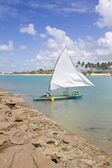 Boat at Porto de Galinhas beach — Stok fotoğraf