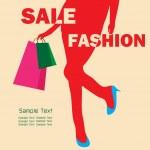 Fashion shopping girl — Stock Vector