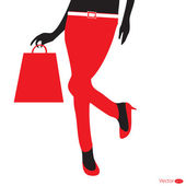 Silhouettes of shopping girl — Stock Vector