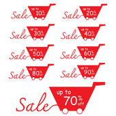 Sale Discount labels with shopping basket — Stock Vector
