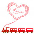 Happy valentines day with train — Stock Vector