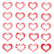 Set of symbol hearts valentine striped — Stock Vector