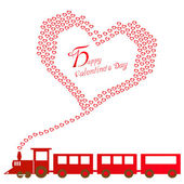 Happy valentines day with train — Vector de stock