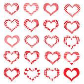 Sada Valentine srdce symbolem pruhované — Stock vektor