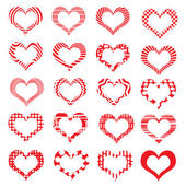 Set of symbol hearts valentine striped — Stock Vector