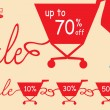 Shopping cart with sale. Vector illustration — Vector de stock