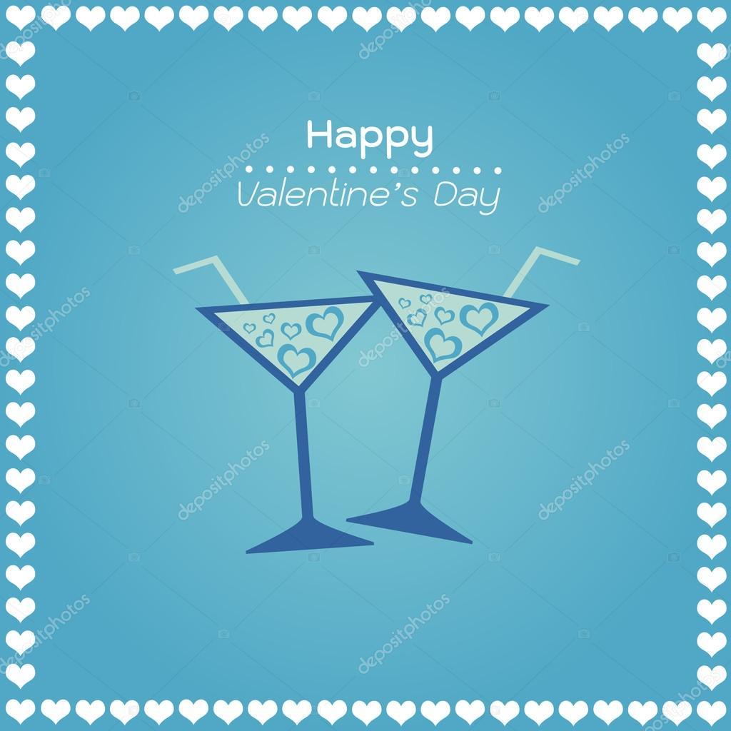 Felice giorno di san valentino carte di colore blu con - Colore del giorno di san valentino ...