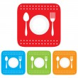 Dish, Fork and spoon icon, restaurant sign - Stock Vector