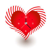 Clock with Heart Shaped — Stock Vector