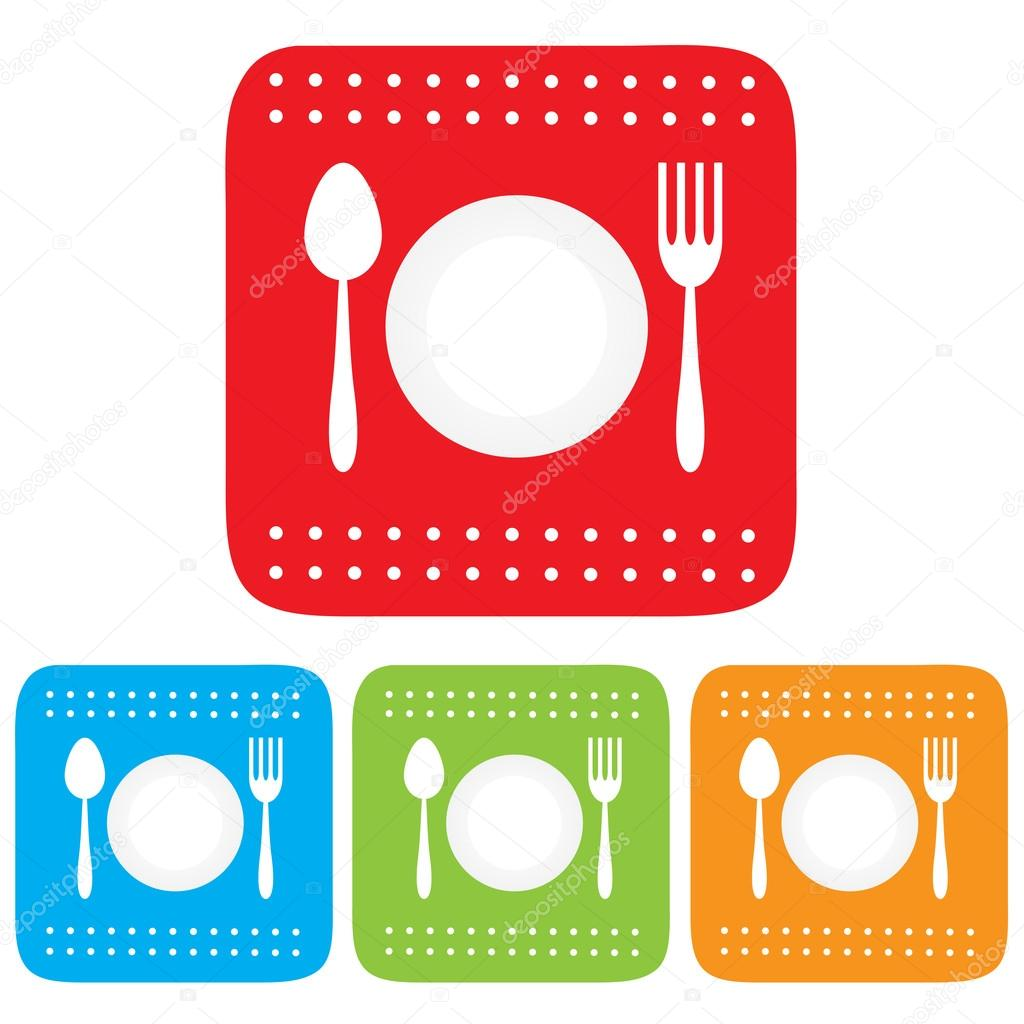 Dish And Spoon Dish, fork and spoon icon,