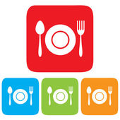 Dish, Fork and spoon icon, restaurant sign — Stock Vector