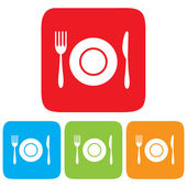 Dish, Fork and Knife icon, restaurant sign — Stock Vector