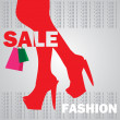 Fashion shopping girl — Stock Vector