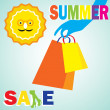 Summer sale shopping girl — Stock Vector