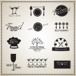 Stock Vector: Food and Drink Restaurant labels set