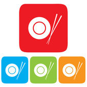 Dish and Chopsticks icon, restaurant sign — Stock Vector