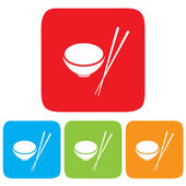 Bowl and Chopsticks icon, restaurant sign — Stock Vector