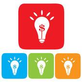 Idea making money, Light bulb with Dollar symbol — Stock Vector