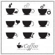 Stock Vector: Coffee cup icon set, Tecup, Vector illustration.