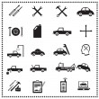 auto reparaties iconen set, vectorillustratie — Stockvector