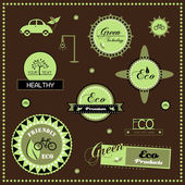 Set of eco labels, vector illustration — Stock Vector