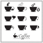 Coffee cup icon set, Tea cup, Vector illustration. — Stock Vector
