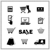 Set of shopping icons. Vector illustration — Stock Vector