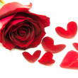 Gift roses on valentine day, with heart leaves — Stock Photo