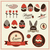 Set of Easter ornaments and decorative labels, Vector illustration — Vector de stock