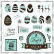 Stock Vector: Set of easter ornaments and decorative labels