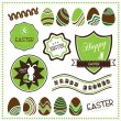Set of easter ornaments and decorative labels — Stock Vector