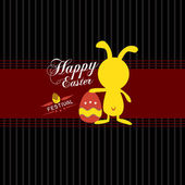 Happy easter cards with easter eggs and easter rabbit — Stock Vector