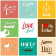 Happy father's day card with font, typography — Stockvectorbeeld