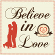 Stock Vector: Words Believe in Love with couple standing