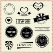 Set of I Love You vintage retro style labels — Stock Vector