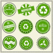 Set of Recycled labels — Stock Vector