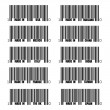 Set of black barcode of Made In symbols, including Italy, France, USA, UK, Spain, Thailand, China, India, Taiwan, Italy - Stock Vector